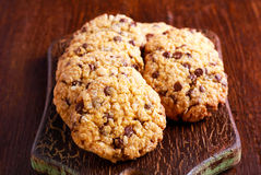 Chocolate chip oat low calorie cookies Stock Images