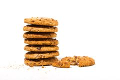 Chocolate Chip Oatmeal Cookies On White Background Stock Images