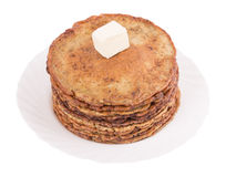 Chocolate chip pancakes on a white Royalty Free Stock Photo