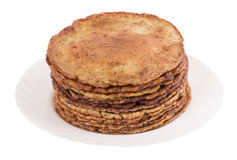 Chocolate chip pancakes on a white Royalty Free Stock Images