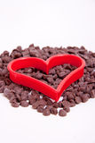 Chocolate Chip with Red Heart Cutters Royalty Free Stock Photography