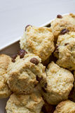Chocolate Chip Scones on Plate stock photos
