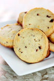 Chocolate chip shortbread cookies Royalty Free Stock Images