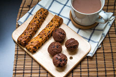 Chocolate chip stick bread with muffin Royalty Free Stock Photo