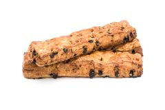 Chocolate chip stick bread on white background. Royalty Free Stock Images