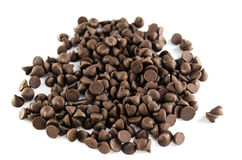 Chocolate chip on white background stock image