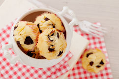 Chocolate chips and almond muffins Stock Photo