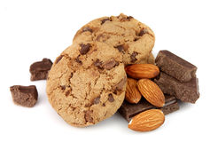 Chocolate chips with almonds Royalty Free Stock Images