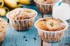 Chocolate chips banana muffins Royalty Free Stock Photography