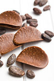Chocolate chips with cocoa beans Stock Photo