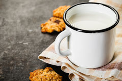 Chocolate chips cookie and milk Royalty Free Stock Image