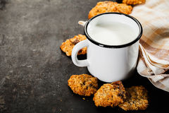 Chocolate chips cookie and milk Stock Photo