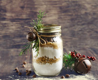 Chocolate chips cookie mix for Christmas gift. Chocolate chips cookie mix in jar for Christmas gift Royalty Free Stock Photos