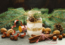 Chocolate chips cookie mix for Christmas gift in jar and ingredi Stock Photography