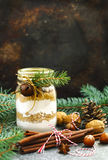 Chocolate chips cookie mix for Christmas gift in jar. Royalty Free Stock Photography