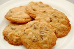Chocolate chips cookies. A plate of chocolate chip cookies royalty free stock image