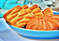 Butter cookies in blue bowl Stock Photo