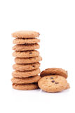 Chocolate chips cookies isolated on white background Stock Photos