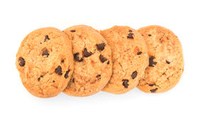 Chocolate  chips  cookies  isolated on white background Stock Images