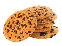 Chocolate chips cookies isolated on white Royalty Free Stock Image