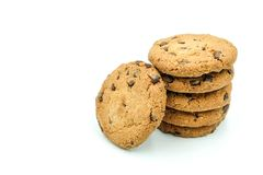 Chocolate chips cookies isolated on white background Royalty Free Stock Photo