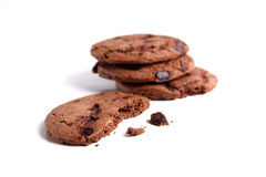 Chocolate chips cookies isolated on white background. Chocolate chips cookies isolated on plain white background Royalty Free Stock Photo