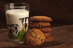 Chocolate chips cookies and milk Royalty Free Stock Photography