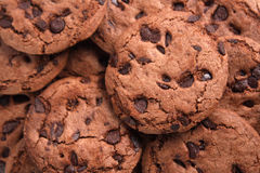 Chocolate chips cookies. Piling with one another Stock Images