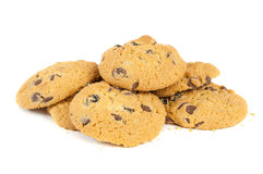 Chocolate chips cookies on white background Stock Images