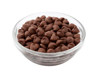 Chocolate Chips in a Glass Bowl Royalty Free Stock Images