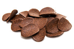 Chocolate chips with nuts isolated Royalty Free Stock Photo