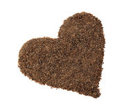 Chocolate chips placer in the shape of heart Stock Images