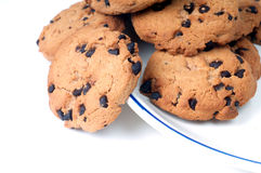 Chocolate Chips on plate Royalty Free Stock Photography