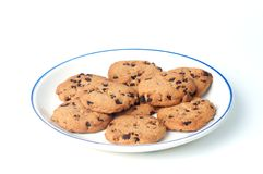 Chocolate Chips on plate Stock Photo