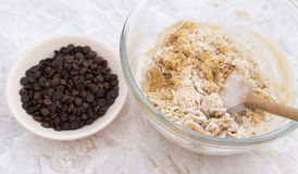 Chocolate chips to be added to cookie dough Stock Photo