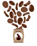 Chocolate chips. Unusual snacks for sweet tooth. Fly Brown chips Stock Image