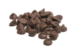 Chocolate Chips on White Background Stock Image