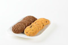 Chocolate and Choc Chip cookies or biscuits Royalty Free Stock Images