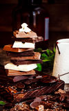 Chocolate / Chocolate bar / chocolate background/chocolate tower and strawberry. Stock Photo