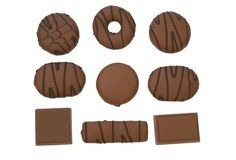 Chocolate and chocolate biscuits Stock Photos