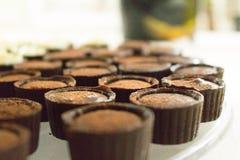 Chocolate with chocolate brigadeiro inside royalty free stock image