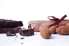 Chocolate with chocolate truffles Stock Images