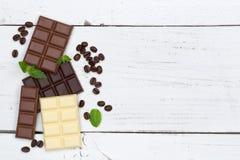 Chocolate chocolates bar food sweets copyspace top view Stock Photos