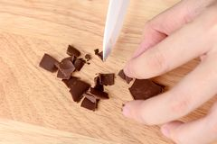 Chocolate on a chopping board Royalty Free Stock Photos