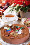 Chocolate christmas cake Royalty Free Stock Images