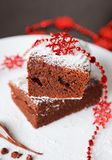 Chocolate Christmas cake Stock Photo