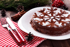 Chocolate Christmas cake Stock Image