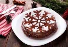 Chocolate Christmas cake Royalty Free Stock Image