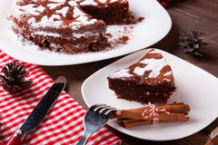 Chocolate Christmas cake Royalty Free Stock Photo