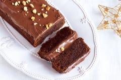 Chocolate Christmas cake Stock Images